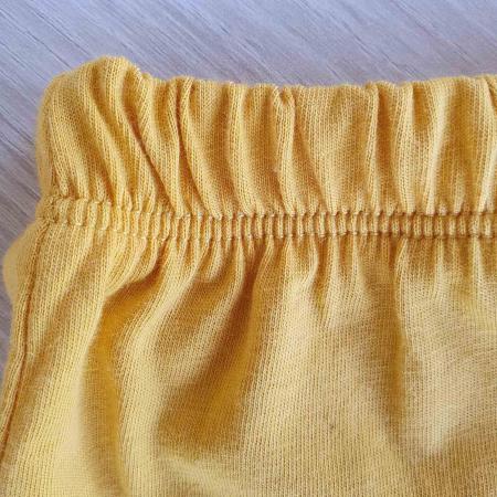 Set bebelusi tricou pantaloni scurti si babetica puisor galben bumbac 3-12 luni [2]