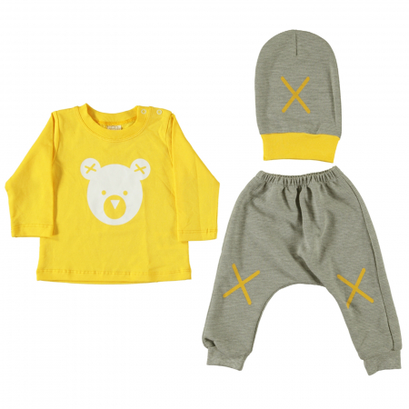 Set bluza, pantaloni si caciulita galben cu gri