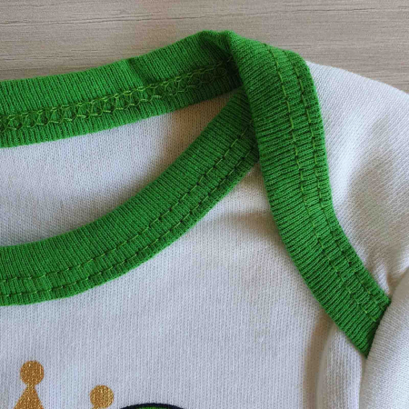 Set body bebelusi maneca scurta, pantaloni si caciulita broscuta bumbac 0-6 luni [1]