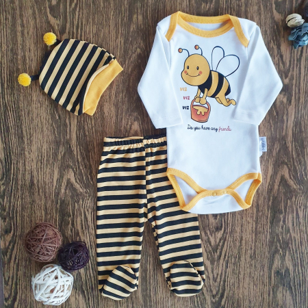 Set body, pantaloni si caciulita albinuta bumbac 0-6 luni