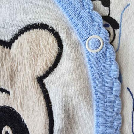 Set nou nascut 5 piese bluzita, caciulita, manusi si bavetica panda alb cu bleu1