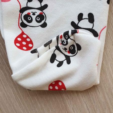 Set nou nascut 5 piese bluzita, caciulita, manusi si bavetica panda alb cu rosu2