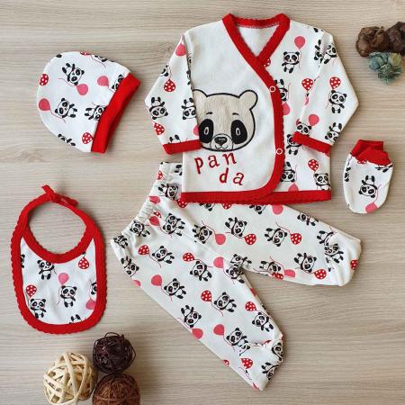 Set nou nascut 5 piese bluzita, caciulita, manusi si bavetica panda alb cu rosu0