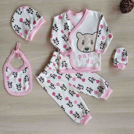 Set nou nascut 5 piese bluzita, caciulita, manusi si bavetica panda alb cu roz bumbac [0]