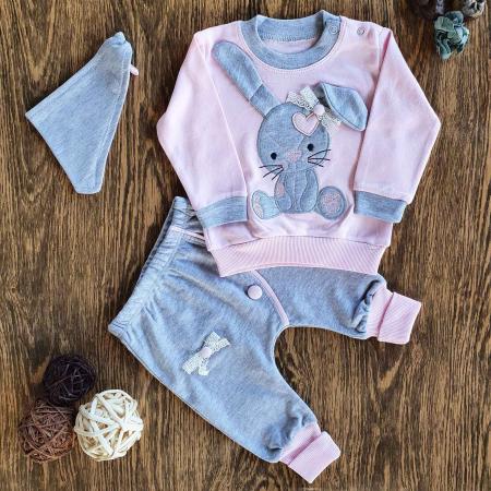 Trening bebelusi fetita iepuras roz bumbac 0-9 luni