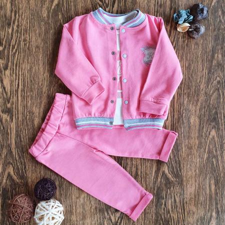 Trening bebelusi roz si bluzita alba bumbac 6-18 luni0