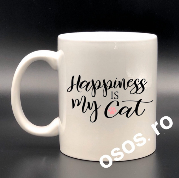 Cana personalizata - Happiness is my cat 0
