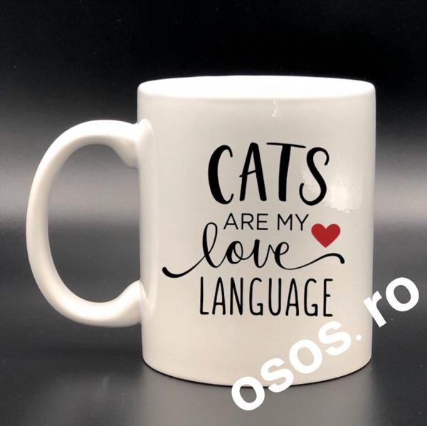 Cana personalizata - Cats are my love language 0