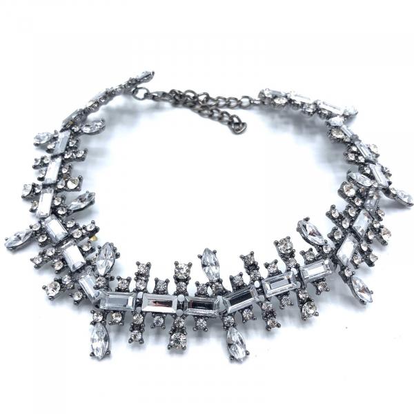 choker metalic argintiu cu pietricele [0]