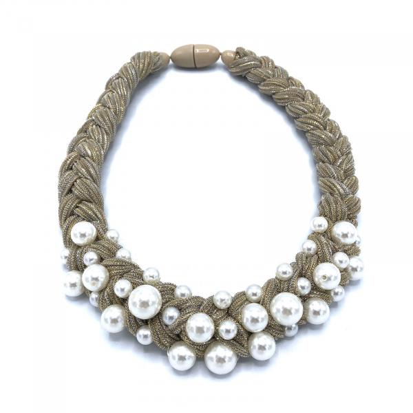 Colier textil cu perle artificiale 0