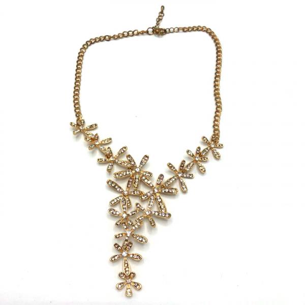 Colier dama auriu cu flori si pietricele [0]