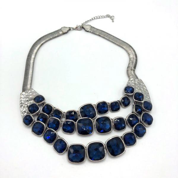 Colier metalic cu pietre albastre [0]