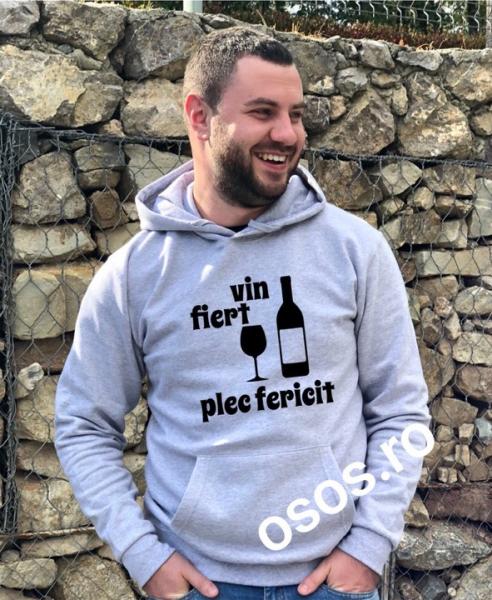 Hanorac personalizat bărbătesc - Vin fiert. Plec fericit 0