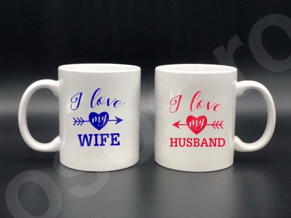 Set căni personalizate - I love my wife - I love my husband