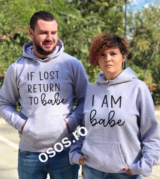 Set hanorace cuplu - If lost returt to bebe. I am bebe 0