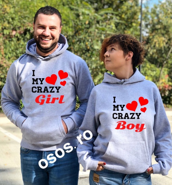Set hanorace cuplu - I love my crazy girl. I love my crazy boy 0