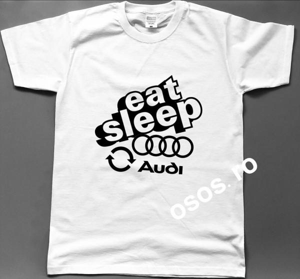 Tricou barbatesc - Eat Sleep Audi Repeat 0