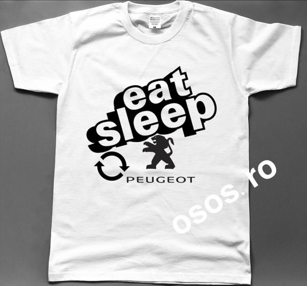 Tricou barbatesc - Eat Sleep Peugeot Repeat 0