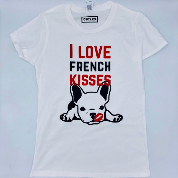 Tricou dama Buldog Francez - I love french kisses 0