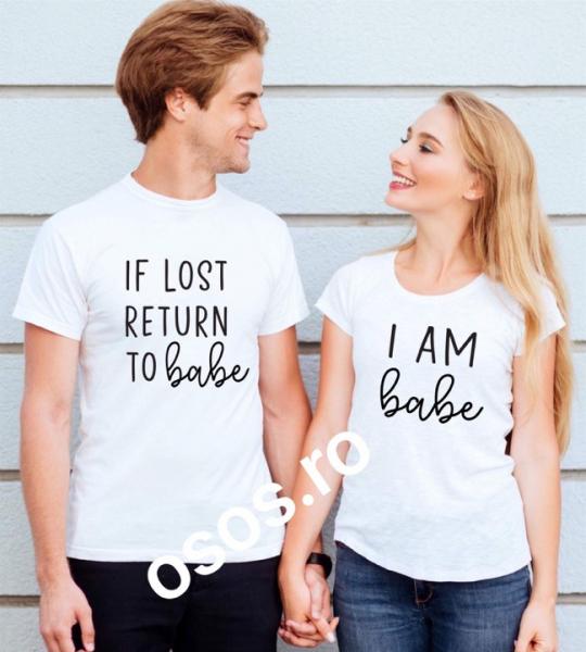 Tricouri cuplu - If lost returt to babe. I am babe [0]