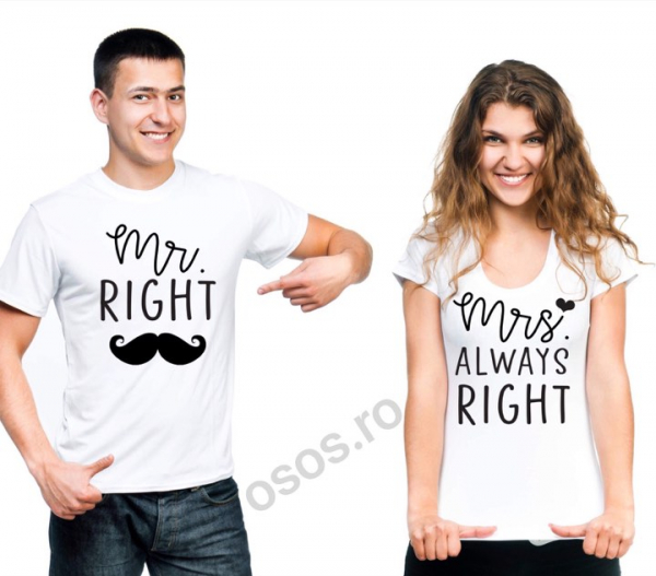 Tricouri cuplu - Mr right, Mrs always right 0