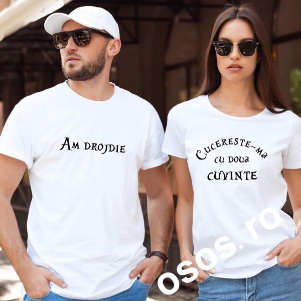 Tricouri cuplu - Cucereste-ma in doua cuvinte. Am drojdie [0]