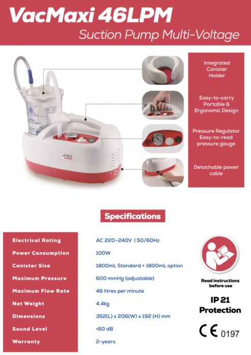 Aspirator Secretii VAC Maxi, 800 ml, 600 mmHg, 46 LPM, fara baterie [1]