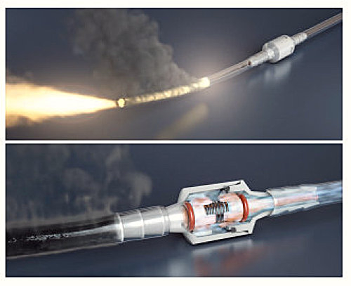 Conector FireSafe, valva unisens si antipropagare foc pt. canula sau masca de oxigen [2]