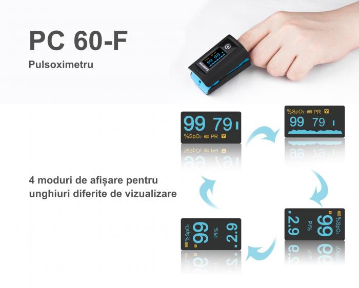 Pulsoximetru PC‐60F (OLED display, SpO2, PR, PI & Plethysmogram, Pulse Bar) 1