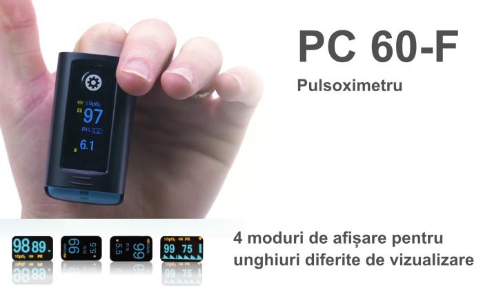 Pulsoximetru PC‐60F (OLED display, SpO2, PR, PI & Plethysmogram, Pulse Bar) 3