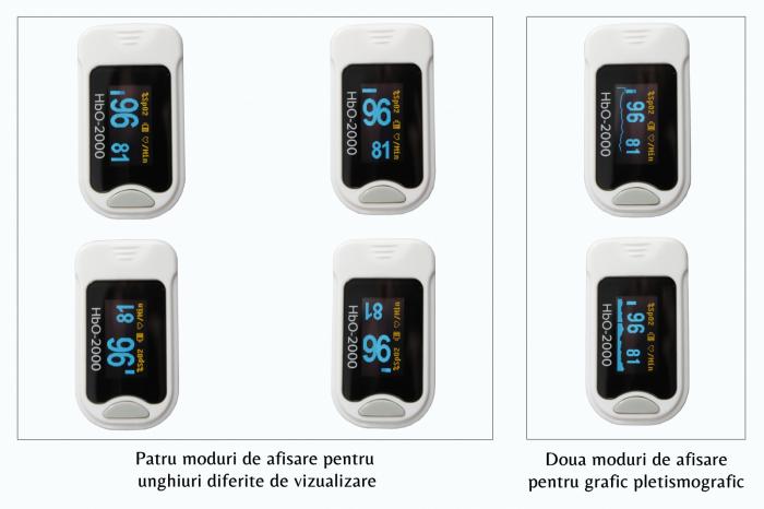 Pulsoximetru HbO-2000 (OLED display, SpO2, PR, PI & Plethysmogram, Pulse Bar) [5]
