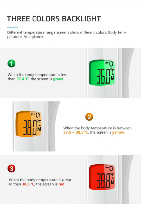 Termometru NON CONTACT, digital cu infrarosu si memorie -  LFR30B 2