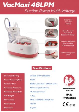 Aspirator Secretii VAC Maxi, 800 ml, 600 mmHg, 46 LPM, fara baterie1