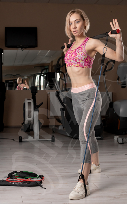 Bara portabila de exercitii cu 6 corzi elastice 7