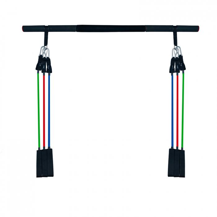 Bara portabila de exercitii cu 6 corzi elastice 0