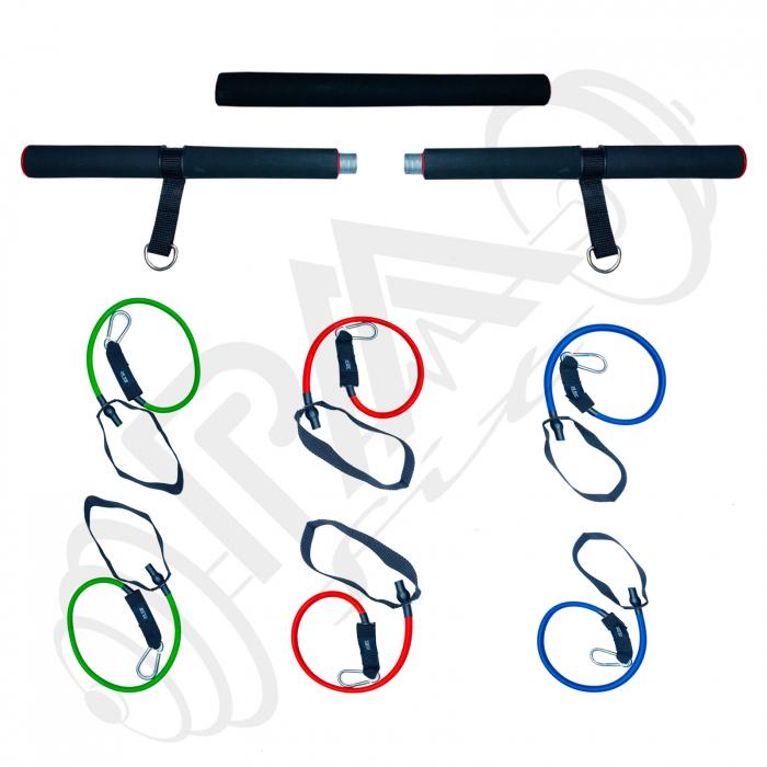 Bara portabila de exercitii cu 6 corzi elastice 2