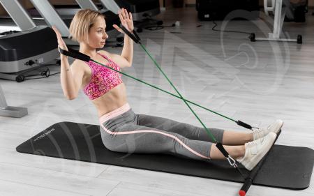 Bara portabila de exercitii cu 6 corzi elastice5
