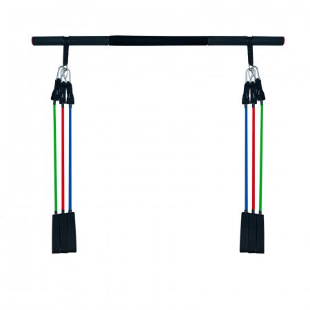 Bara portabila de exercitii cu 6 corzi elastice0