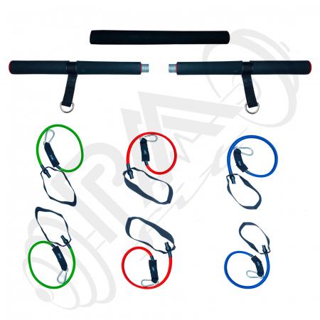 Bara portabila de exercitii cu 6 corzi elastice2