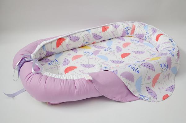 Baby Nest 0-6 luni, compact, model cu lila si umbrele [0]