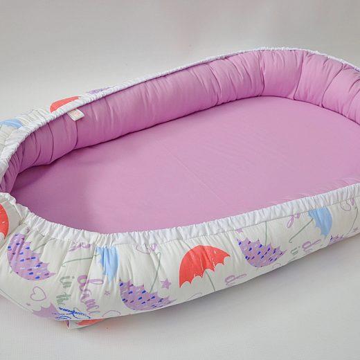 Baby Nest 0-6 luni, compact, model cu lila si umbrele [1]