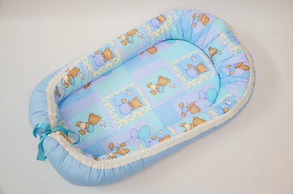 Baby nest 0-6 luni cu ursuleți pe bleu+protecție [0]