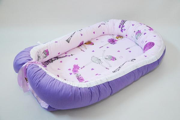 Baby Nest 0-6 luni: balerine și mov + protecție 0
