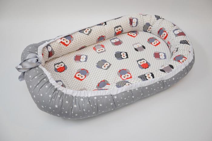 Baby Nest 0-6 luni: bufniţe şi gri + protecţie 0