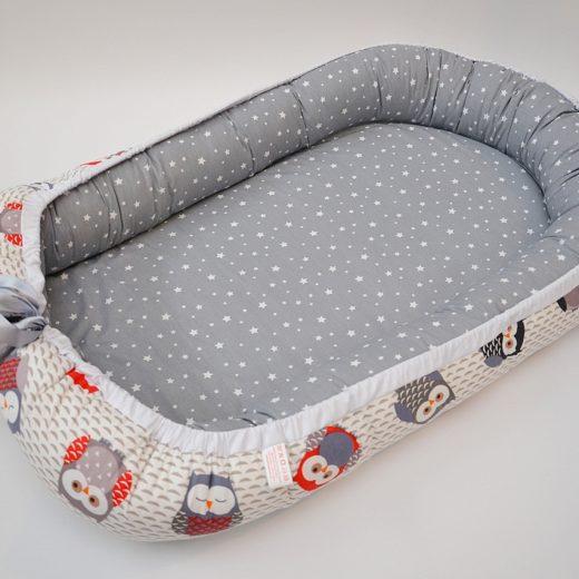 Baby Nest 0-6 luni: bufniţe şi gri + protecţie 1