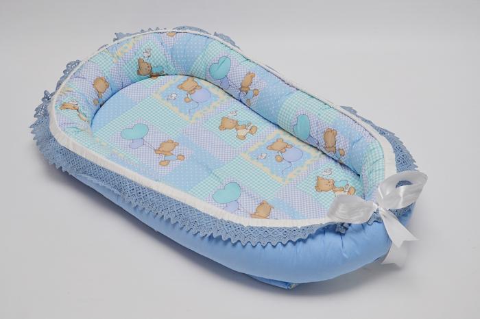 Baby Nest 0-6 luni, compact, model ursuleti, albastru [0]