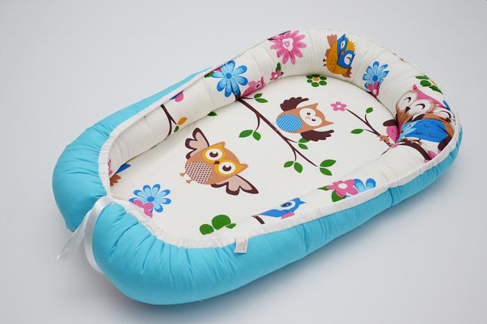 Baby Nest 0-6 luni cu bufnițe mari și turcoaz+protecție 0