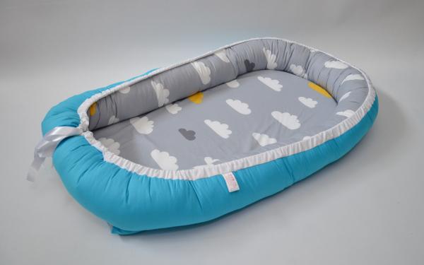 Baby Nest 0-6 luni cu turcoaz şi norişori + protecţie [1]