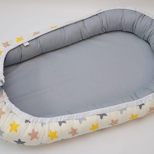Baby Nest 0-6 luni: gri cu stele galben, gri, cappucino + protecție 1