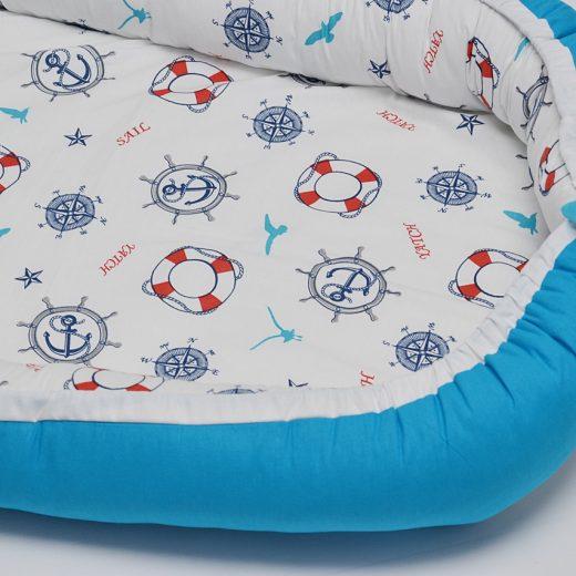Baby Nest 0-6 luni, model cu ancore mici si albastru 1